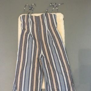 June & Hudson stripe jumpsuit with tie strings